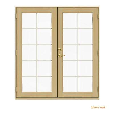 72 in. x 80 in. W-2500 White Clad Wood Left-Hand 10 Lite French Patio Door w/Unfinished Interior