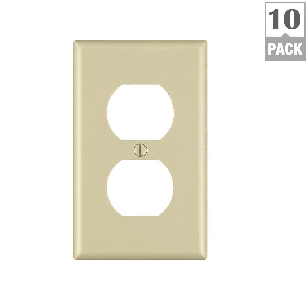 1-Gang Duplex Outlet Wall Plate, Ivory (10-Pack)