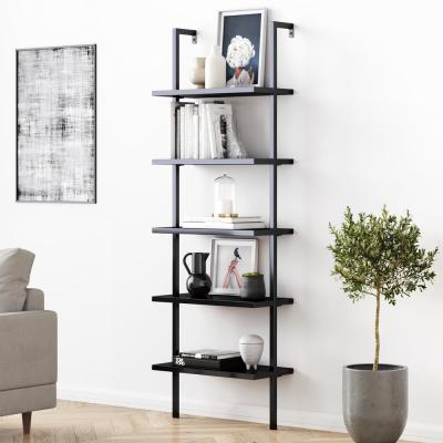 Theo 73 in. Black Wood 5-Shelf Ladder Bookcase with Matte Black Metal Frame
