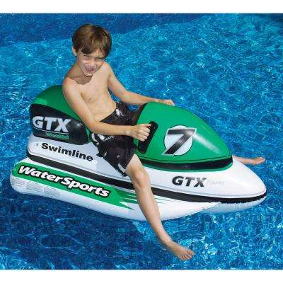 52 in. x 24 in. Green/White GTX Water Bike Ride-On Pool Float