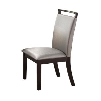 Home Source Wimbish Dark Expresso Side Chairs with Tufted Seats (Set of 2)