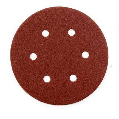 6 in. 80-Grit Aluminum Oxide Hook and Loop 6-Hole Disc (25-Pack)