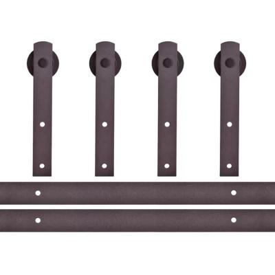 144 in. Antique Bronze Classic Straight Strap Double Track Barn Door Hardware Kit