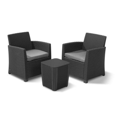Corona Duo Graphite 3-Piece All-Weather Resin Plastic Patio Seating Set with Grey Cushions