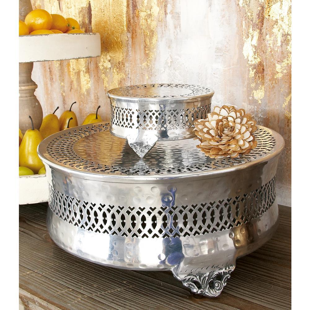 Silver Aluminum Round Cake Stand with Lattice Cutout Design (Set of 4)