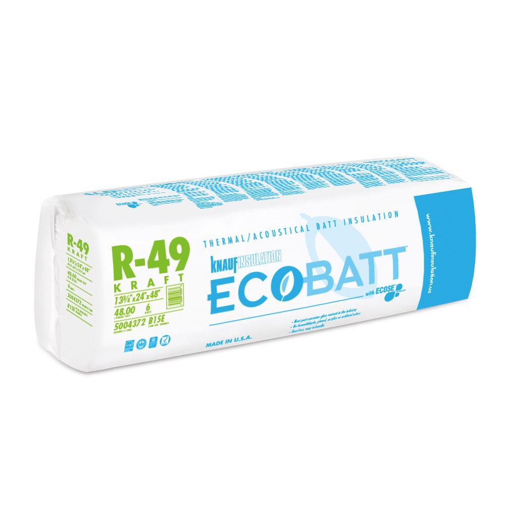 R-49 EcoBatt Kraft faced Fiberglass Insulation Batt 24 in. x 48 in. (8-Bags)