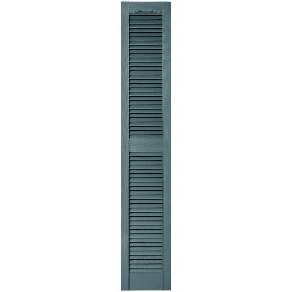 Builders Edge 12 in. x 67 in. Louvered Vinyl Exterior Shutters Pair in #004 Wedgewood Blue