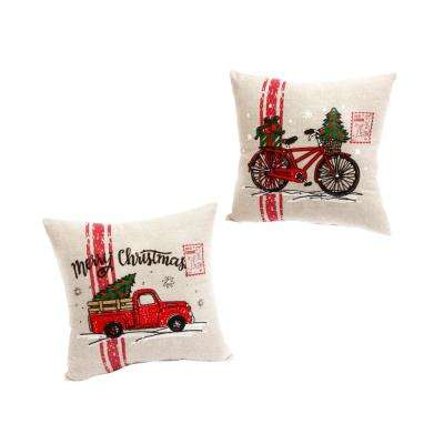 15 in. Holiday Truck and Bicycle Throw Pillows