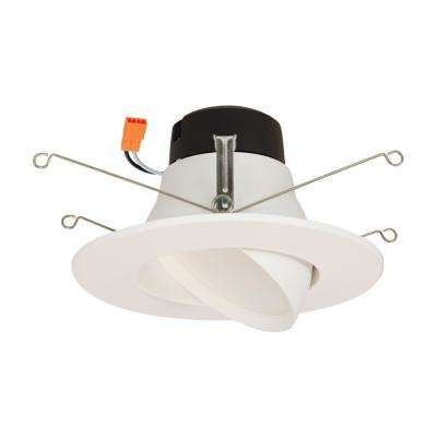 LA 5 in. and 6 in. White Integrated LED Recessed Ceiling Light Fixture Adjustable Gimbal Trim at 2700K Warm White