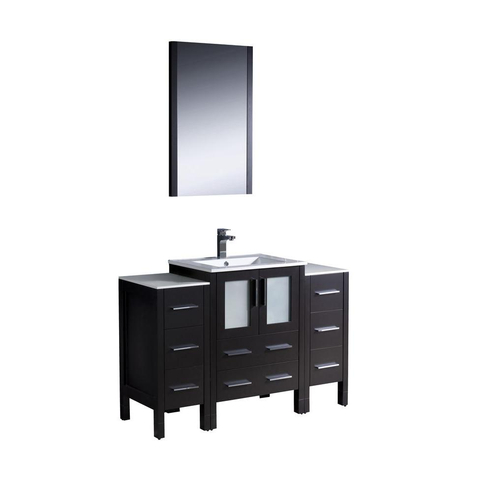 Fresca Torino 48 in. Vanity in Espresso with Ceramic Vanity Top in White with White Basin and Mirror with 2 Side Cabinets