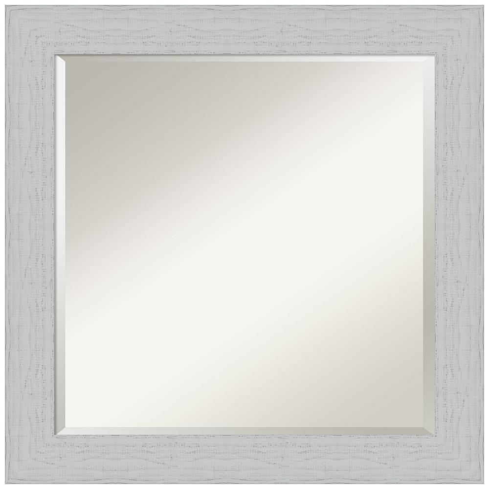 Shiplap White 24.25 in. x 24.25 in. Bathroom Vanity Mirror