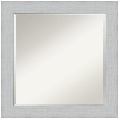 Medium Rectangle Distressed White Beveled Glass Classic Mirror (24.25 in. H x 24.25 in. W)