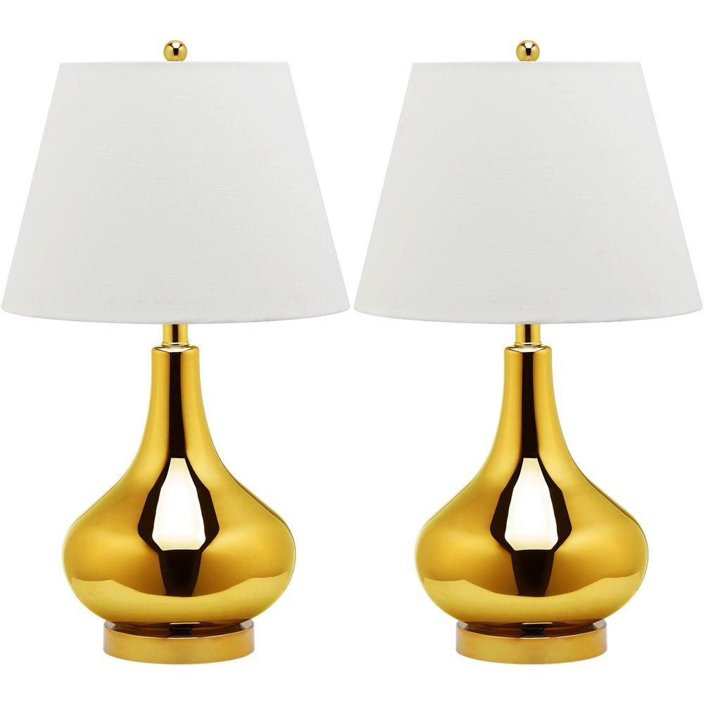 Amy 24 in. Gold Gourd Glass Lamp (Set of 2)