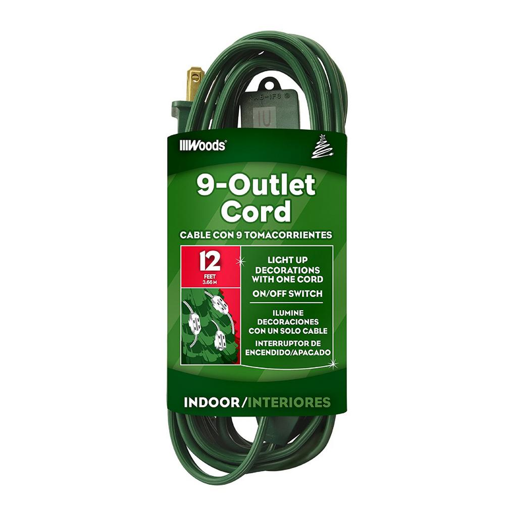 Woods 12 ft. Multi-Outlet (9) Indoor Extension Cord, Green