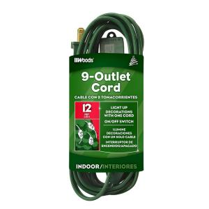 12 ft. Multi-Outlet (9) Indoor Extension Cord, Green