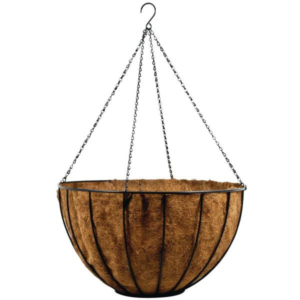 24 in. Coconut Hanging Basket with Cocoliner and Chain