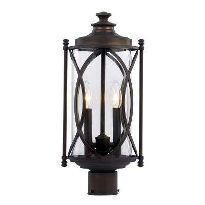 2 Light Rubbed Oil Bronze Outdoor Crossover Post Lantern