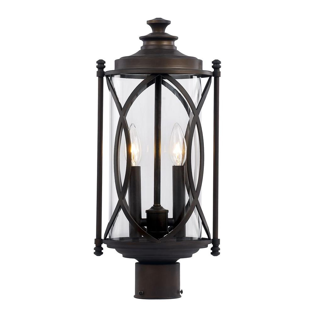 Bel Air Lighting 2 Light Rubbed Oil Bronze Outdoor Crossover Post Lantern