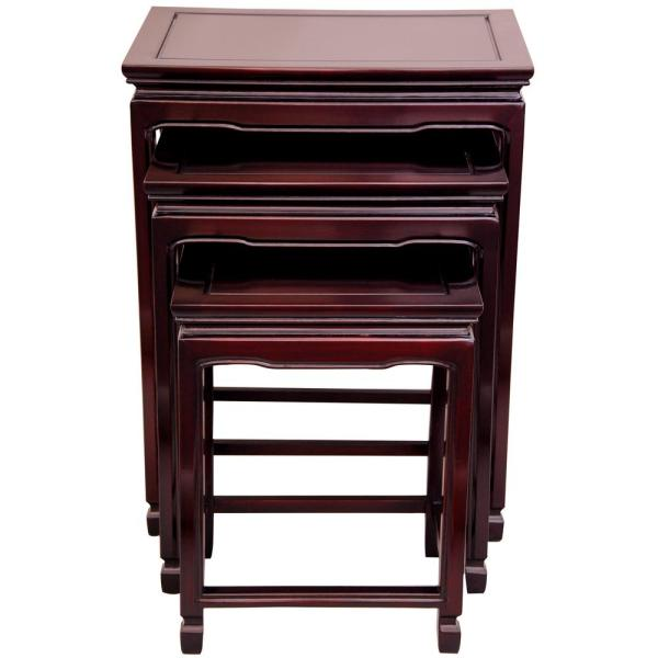 Nesting Red 3-Piece Nesting End Table