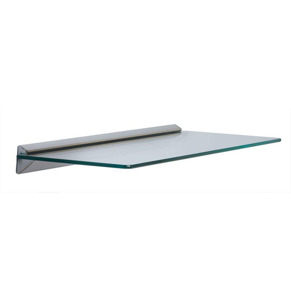 Knape & Vogt 8 in. x 24 in. Chrome Glass Decorative Shelf Kit-89 CHR ...