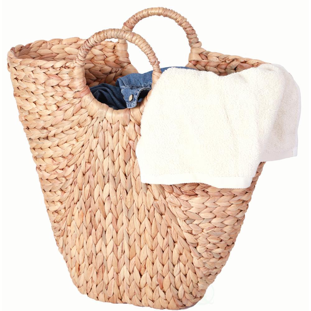 18 in. Natural Handwoven Water Hyacinth Storage Laundry Basket/ Handbag