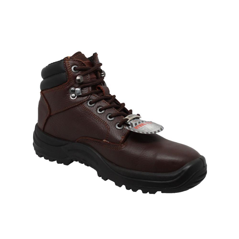 Men's Wide 11 Brown Tumbled Leather Steel Toe TPU Work Boot