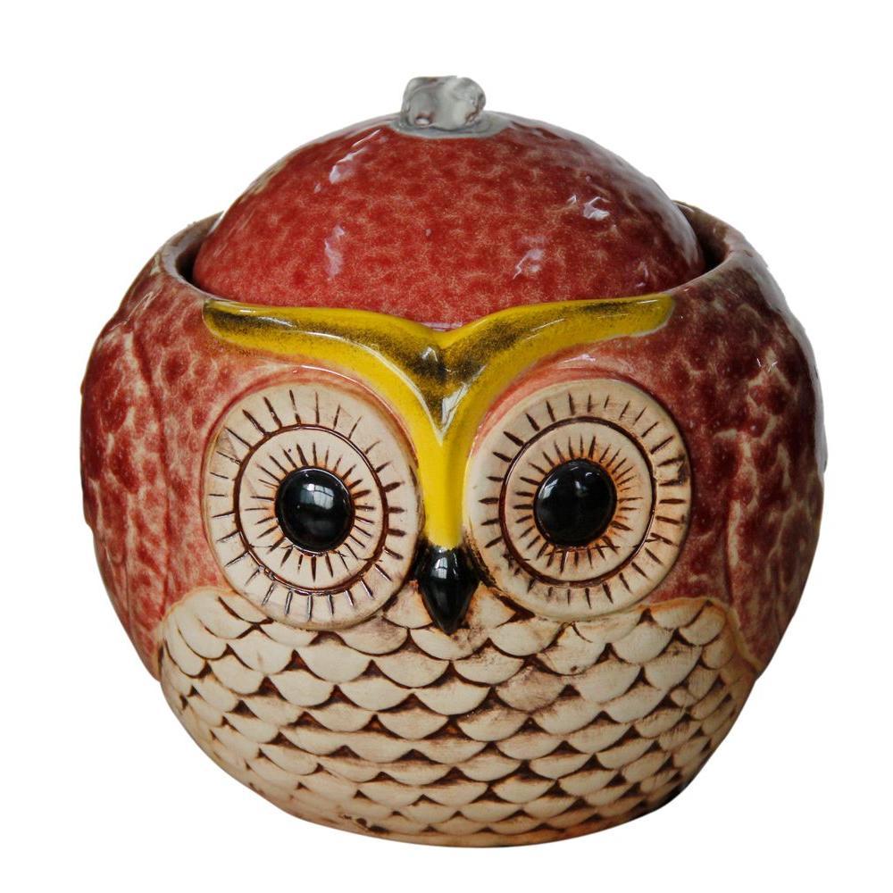 Alpine Round Cute Owl Ceramic Tabletop Fountain