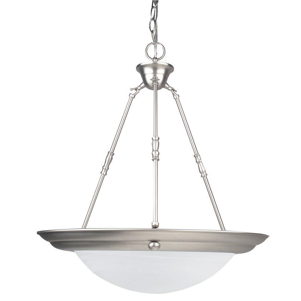 2-Light Satin Nickel Bowl Pendant