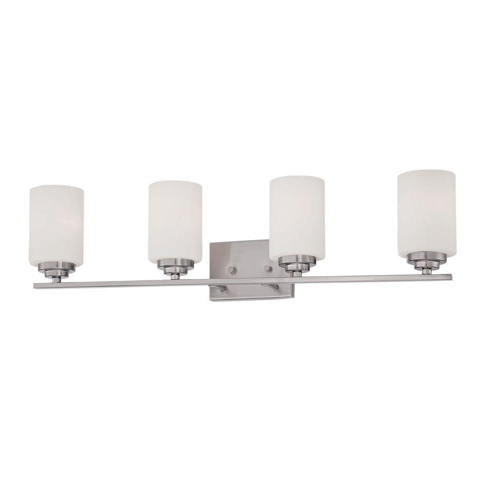 4-Light Satin Nickel Vanity Light with Etched White Glass
