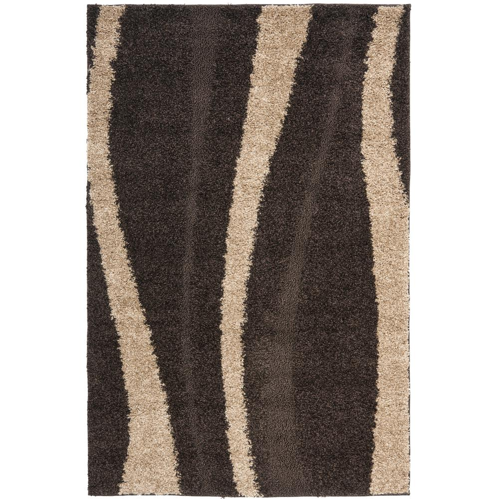Safavieh Florida Shag Dark Brown/Beige 8 Ft. X 10 Ft. Area Rug