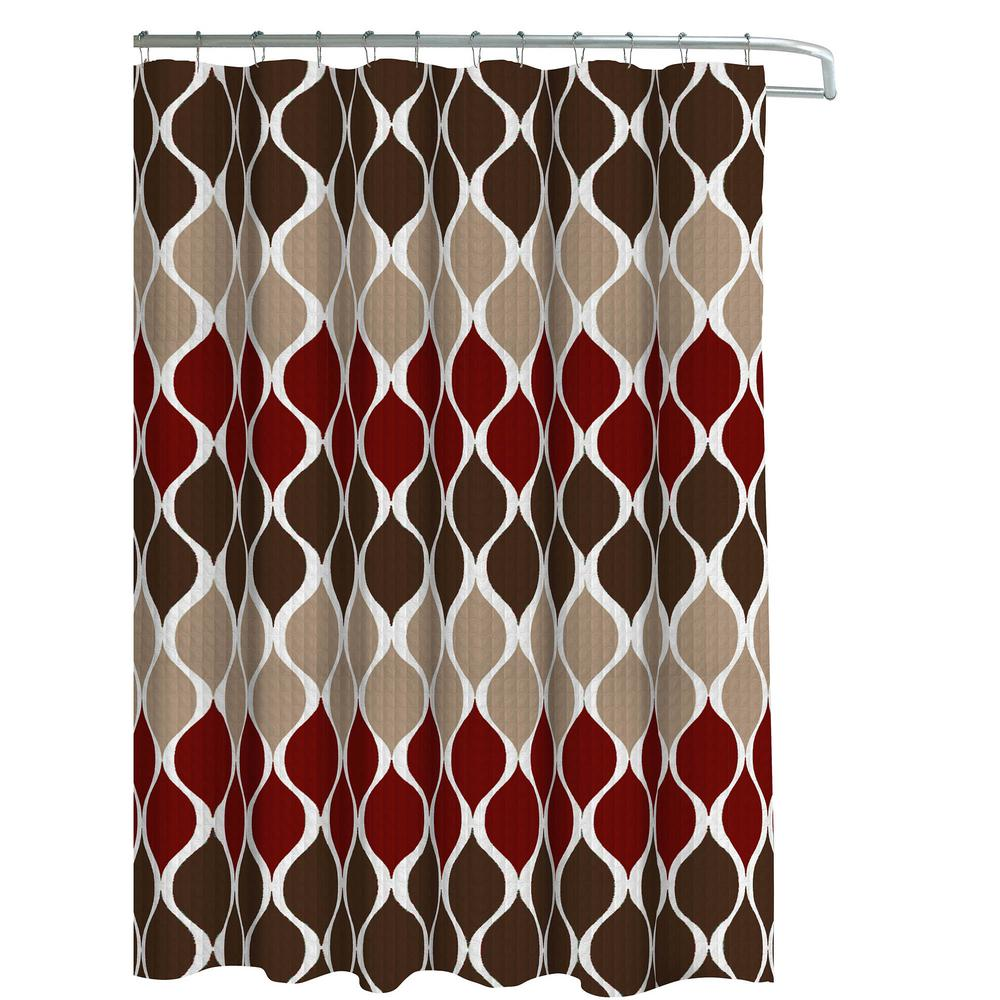 Creative Home Ideas Oxford Weave Textured 70 in. W x 72 in. L Shower Curtain with Metal Roller Hooks in Clarisse Espresso