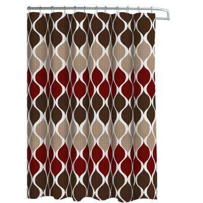 Oxford Weave Textured 70 in. W x 72 in. L Shower Curtain with Metal Roller Hooks in Clarisse Espresso