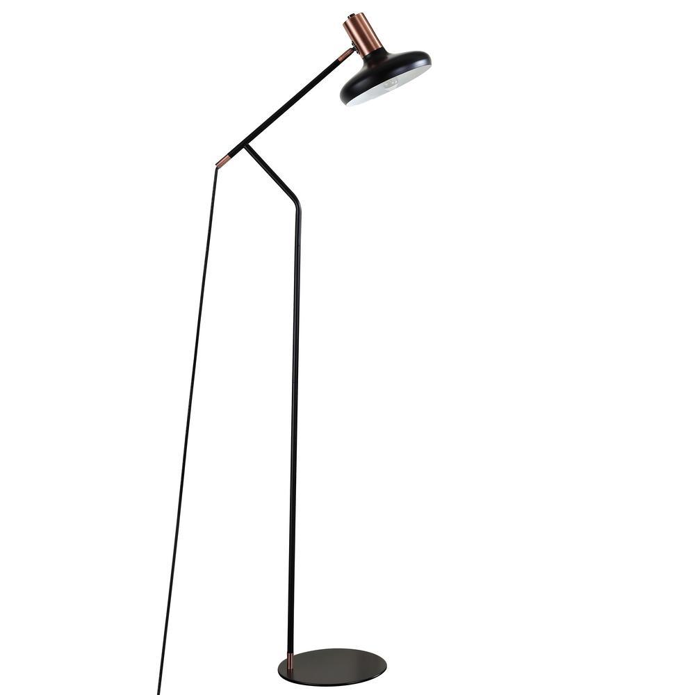 Amia 66 in. Black/Antique Copper Floor Lamp with Black Shade