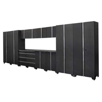 Classic 75 in. H x 216 in. W x 18 in. D Steel Cabinet Set in Coal (14-Piece)