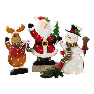 S/3 24.5 in. H Lighted Metal Standing Holiday Characters
