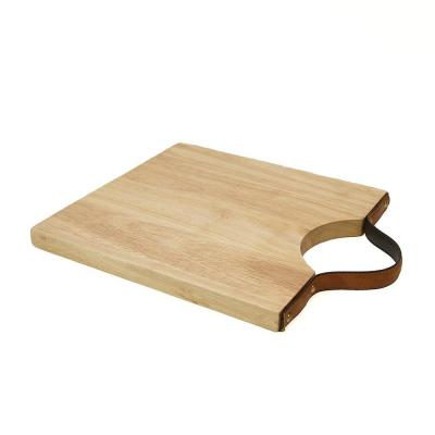 10 in. L x 12 in. W Acacia Cutting Board with Leather Handle