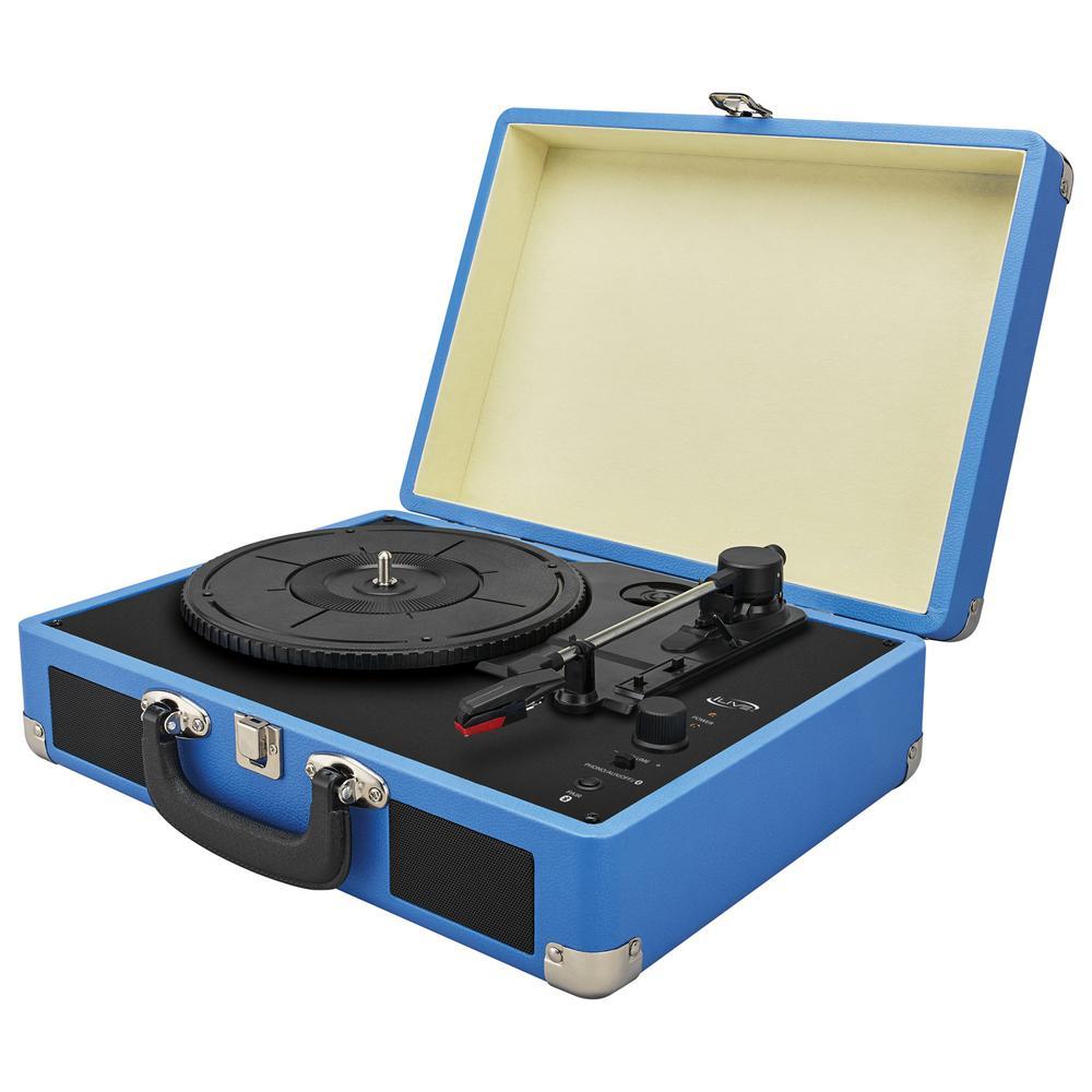 3-Speed Suitcase Bluetooth Turntable, Blue