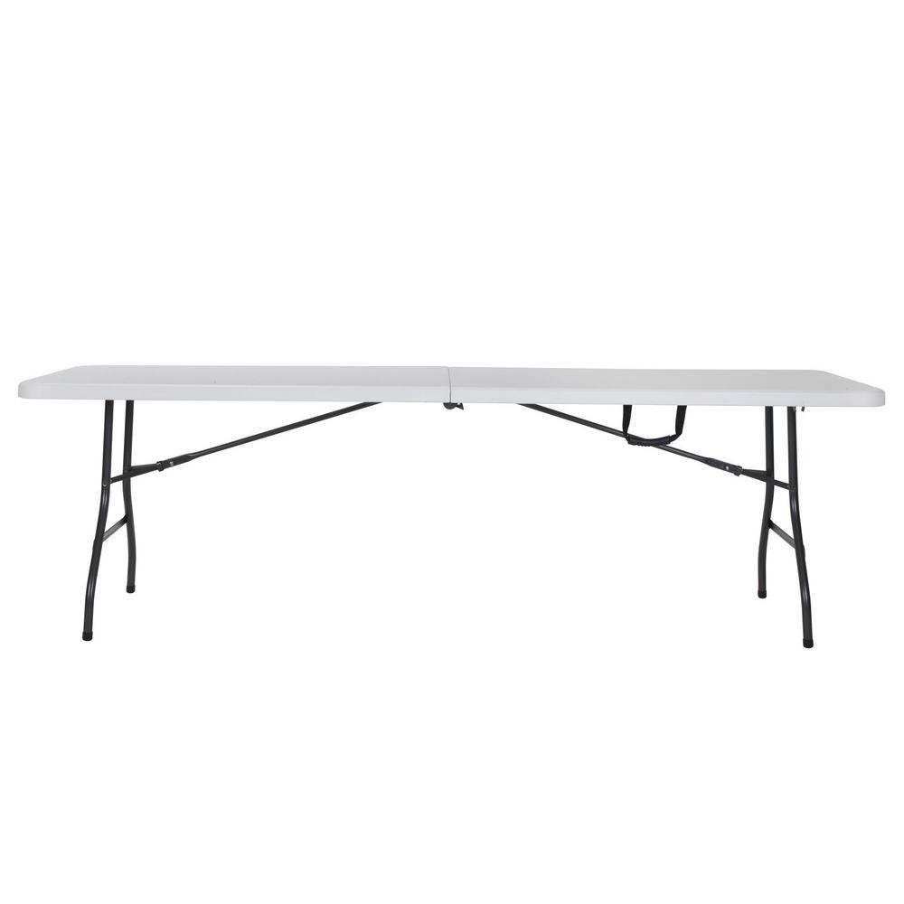 Cosco Deluxe 8 ft White Fold in Half Blow Molded Folding Table