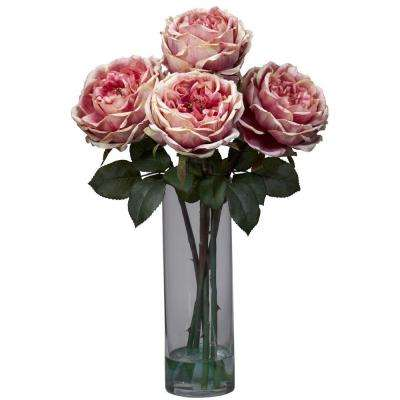18 in. H Pink Fancy Rose with Cylinder Vase Silk Flower Arrangement