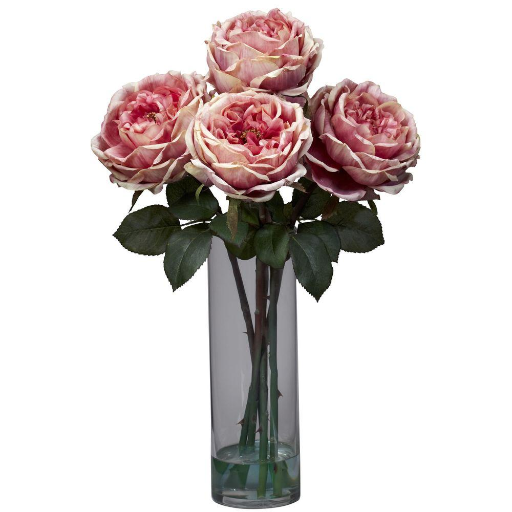 Nearly Natural 18 In H Pink Fancy Rose With Cylinder Vase Silk Flower Arrangement 1247 Pk The Home Depot