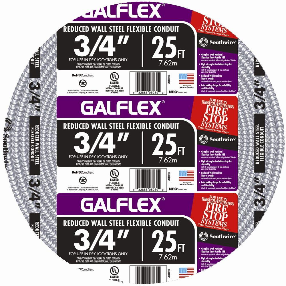 Southwire 3/4 in. x 25 ft. Galflex RWS Metallic Armored Steel Flexible Conduit