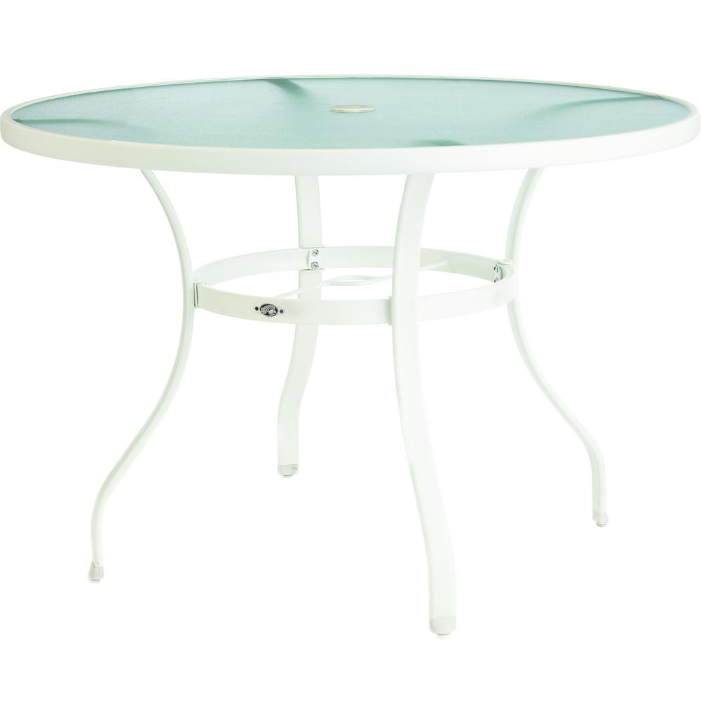 Hampton Bay Mix and Match White Round Glass Outdoor Dining Table