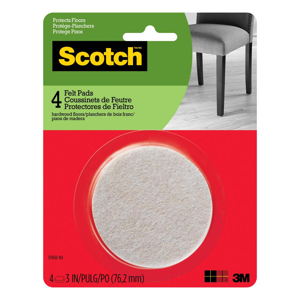 Scotch 3 in. Beige Round Surface Protection Felt Floor Pads ((4-Pack)(Case