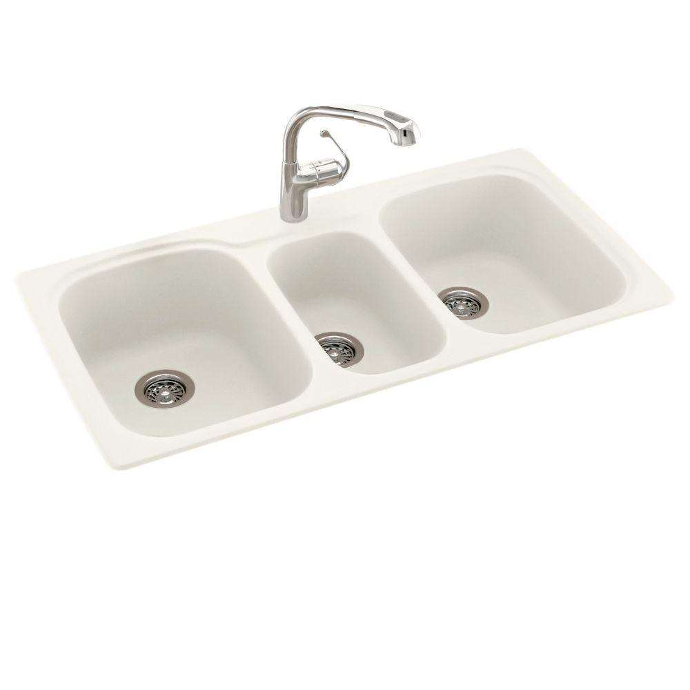 Swan Drop-In/Undermount Solid Surface 44 in. 1-Hole 40/20/40 Triple Bowl  Kitchen Sink in Bisque