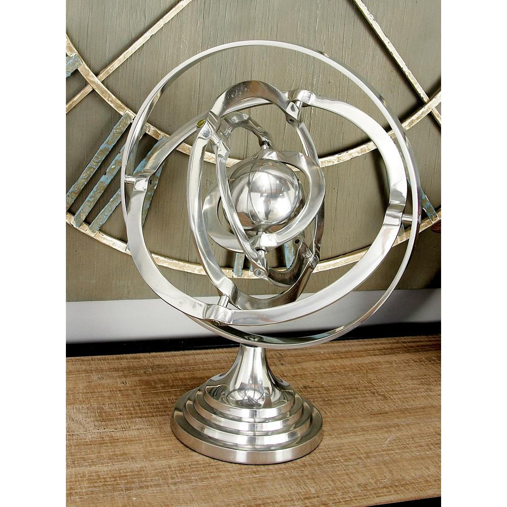 15 in. Armillary Sphere Decor in Polished Silver