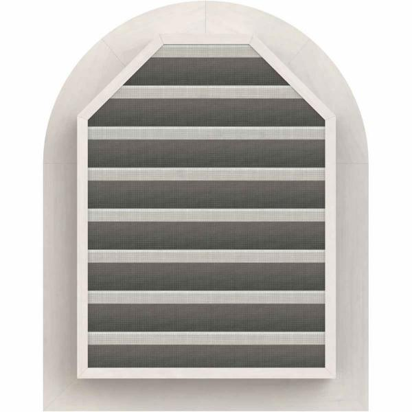 Ekena Millwork 35 In X 31 In Round Top Primed Smooth Western Red Cedar Wood Paintable Gable Louver Vent Gvwrt30x2600sfpwr The Home Depot