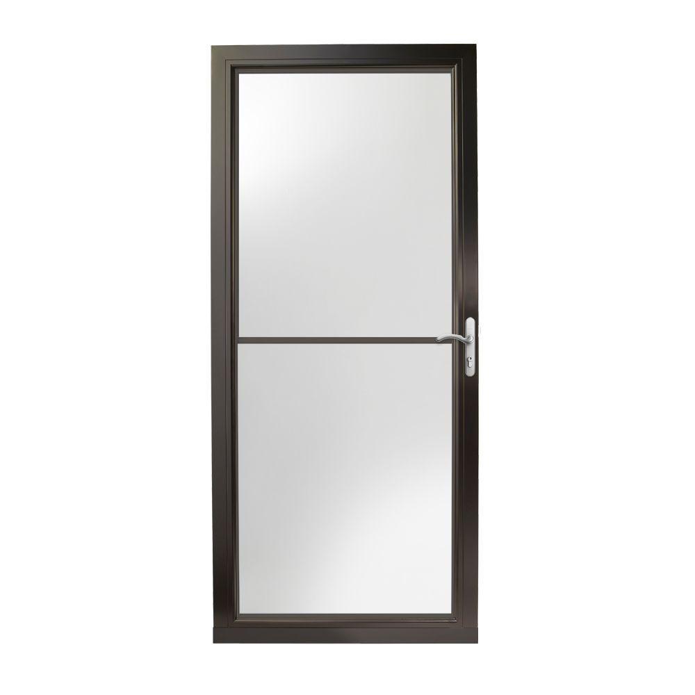36 in. x 80 in. 3000 Series Black Right-Hand Self-Storing Easy Install Aluminum Storm Door with Nickel Hardware