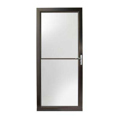 36 in. x 80 in. 3000 Series Black Right-Hand Self-Storing Easy Install Aluminum Storm Door with Nickel Hardware