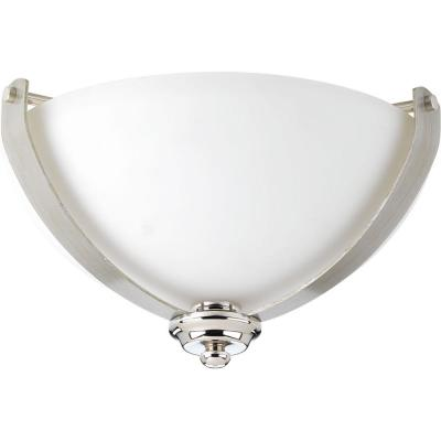 Progress Lighting Noma Collection 2-LightPolished Nickel Flush Mount with Etched White Glass Bowl