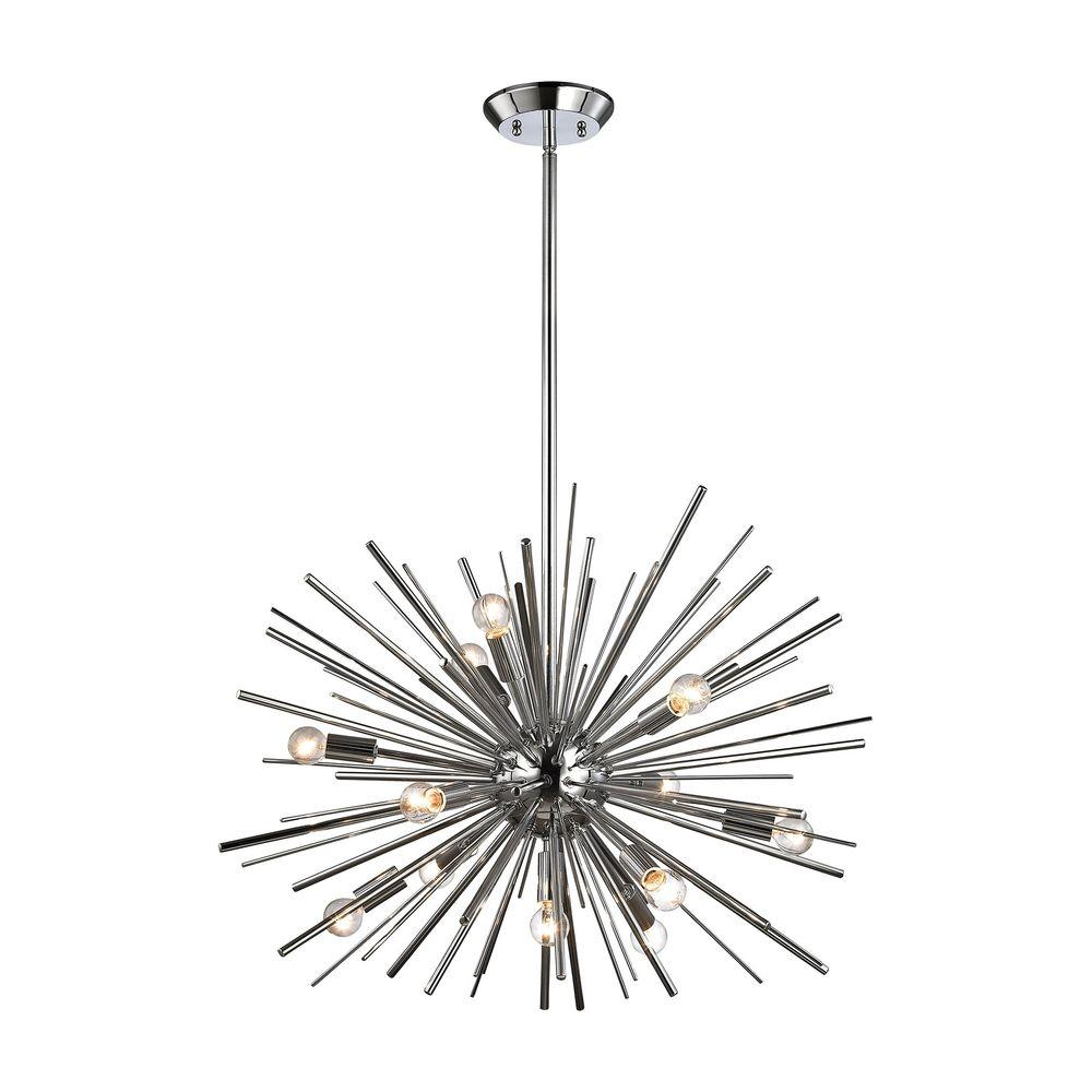 An Lighting Starburst 12 Light Chrome Pendant